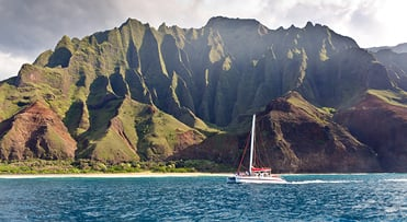 Catamaran by the Napali Coast | Kauai