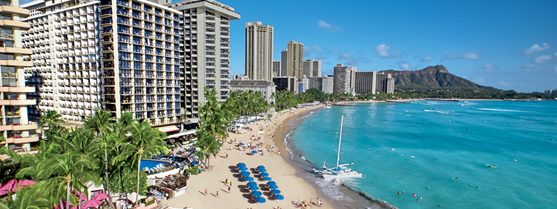 The famous Waikiki Beach and Diamond Head