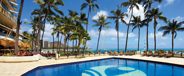 Pool with ocean view | Outrigger Waikiki Beach Resort