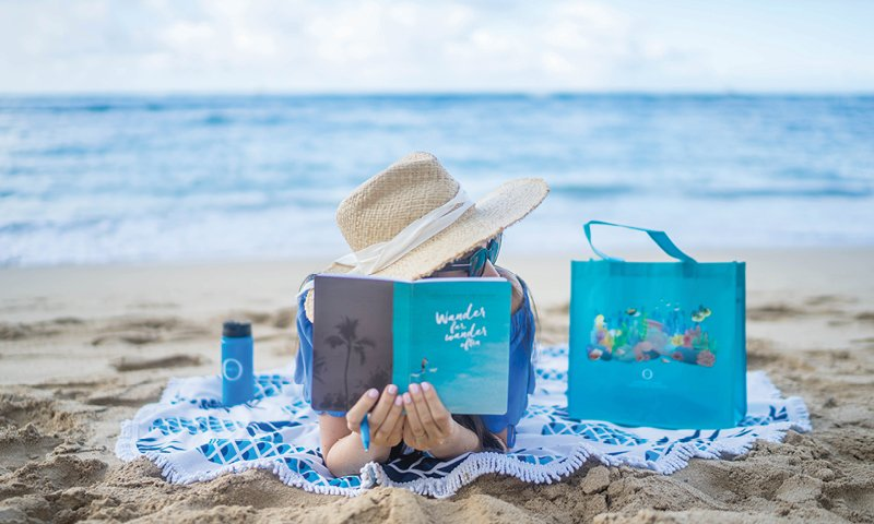 ocean care beach hat reef sunscreen reusable bottle bag notebook reading