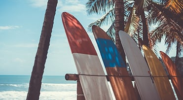 Surfboards on beach in Thailand